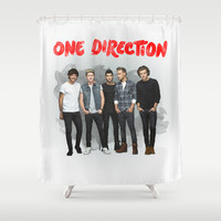 One Direction Watercolor Shower Curtain by dan ron eli