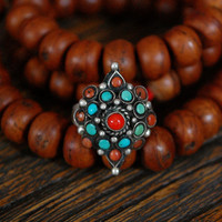 Hippie Coral Turquoise Ring