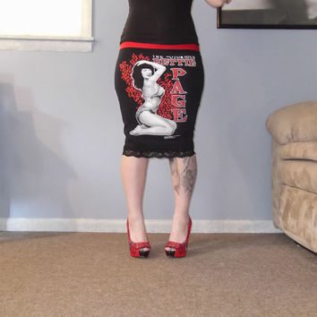 Notorious Bettie Page Pencil Skirt by l0veinva1n on Etsy