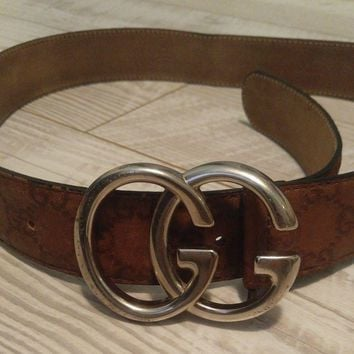 Authentic Vintage GUCCI Men's GG Silver Buckle/Brown Leather Embossed Belt Sz 36