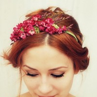 Floral headband, pink flower crown, hair accessories, romantic floral head piece - Francesca