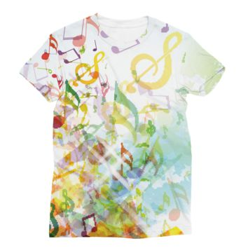 Digital Fall Colored Music Notes AWDis Sublimation T-Shirt