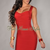 Red Plunging Back Silky Bandage Dress