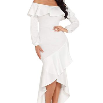 White Lantern Sleeve Asymmetric Ruffle Hem Evening Dress