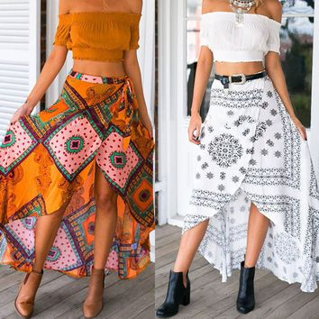 Womens Bohemian Hippie Ladies Vintage Pattern Bandage Wrap Asymmetrical Long Skirts