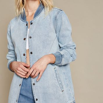 PacSun Denim Snap Front Baseball Jacket at PacSun.com