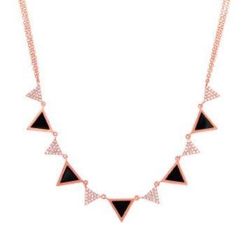 0.26ct Diamond & 1.00ct Onyx 14k Rose Gold Triangle Necklace