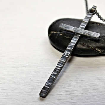 mens cross necklace silver, black silver cross, mens necklace cross pendant, rustic cross necklace, hammered cross pendant gift for him