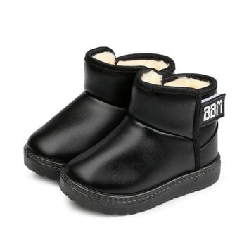 MHYONS Winter Snow Boots Leather Children Boots With Thick Fur Dress Shoes Black Sneakers For Girls Boys Toddler Best Shoes
