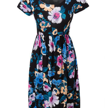 LE3NO Womens Casual Flared Short Sleeve Floral Print Skater Midi Dress