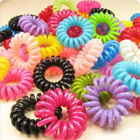 20pcs/lot Telephone Wire Line Cord Invisi Traceless Hair Ring Gum Colored Elastic Hair Band For Girl Hair Scrunchy Children's