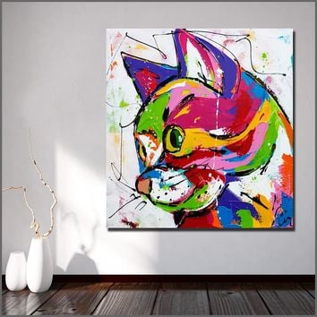 Wlong Art Printing Pop Art Oil Painting Canvas Animal cat Wall Art , Wall Pictures for Living room Bedroom Office No Framed