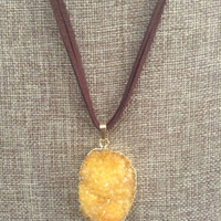 Druzy Leather Necklace Yellow Druzy Pendant With Faux Leather Necklace
