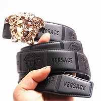 VERSACE Trending Women Men Popular Smooth Buckle Leather Belt Black