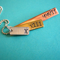 Roman Numeral Date Mixed Metal Necklace in by spiffingjewelry