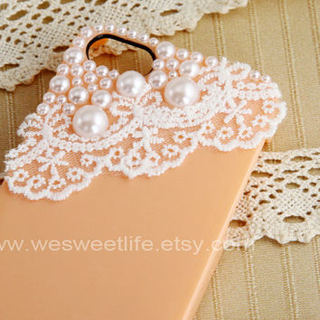 iPhone 5 case,Vintage Lace with Pearl peach iPhone 5 case, iPhone case, iphone cover ,iphone 5 cover, peach case