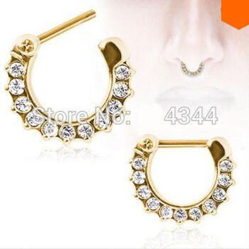 ac DCCKO2Q 1pcs golden Surgical Steel CZ Clicker Small Hoop Septum Jewerly Nose Ring body piercing jewelry