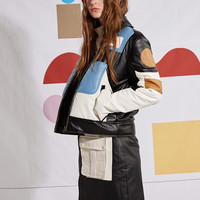 BLUEerror GeometrySeries Color Block PU Leather Jacket