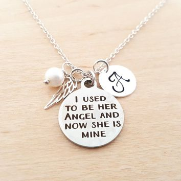 Angel Wing Necklace - Memorial Necklace - Birthstone Necklace - Personalized Necklace - Initial Necklace - Sterling Silver Necklace