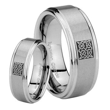 His and Hers Celtic Design Step Edges Brushed Tungsten Anniversary Ring Set