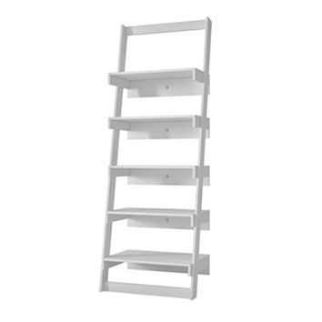 Brilliant Carpina Ladder Shelf with 5- Floating Shelves in White