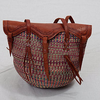 Vintage 70s 80s Tooled Leather Woven Large Bucket Bag 1970s 1980s Jute Tribal African Tote Bag Ethnic Market Sisal Hippie Handbag