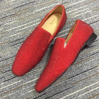 Christian Louboutin Cl Colonnaki Strass Red Loafers - Best Online Sale