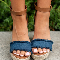 Never Leaving You Wedges, Denim Blue