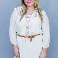 WEB EXCLUSIVE: Just a Dream Plus Size Belted Dress in Cream
