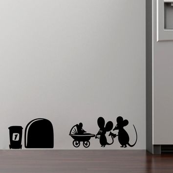 family baby mouse hole wall stickers for kids rooms decals vinyl wall art decoration home vintage mural Christmas Decoration