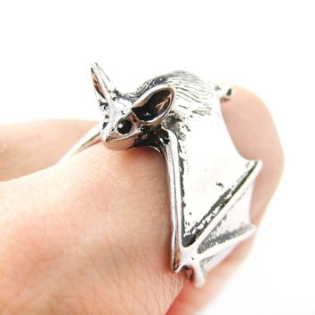 3D Bat Animal Wrap Ring in Shiny Silver: Sizes 5 to 10 Available | Animal Jewelry