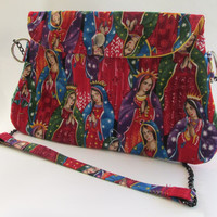 Virgin Mary Clutch Purse with Chain Strap / Our Lady of Guadalupe Bag
