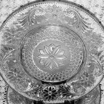 Four Indiana Glass Polished Crystal Salad Luncheon Plates Pattern Number 170  Known As the Sandwich or Early American Pattern