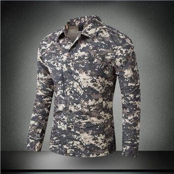 Hiking Shirt camping Men's Summer Quick Dry Camouflage Sleeve Detachable Military Tactical Shirt Outdoor Training Climbing Hiking Breathable Shirts KO_17_1