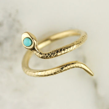 Solid 14k 18k Gold Turquoise Snake Serpent Wrap Ring - Hand Forged