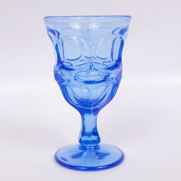 Vintage Blue Glass Cordial Thumbprint Pattern Cobalt Blue Glass Compote Stemmed Pressed Glass