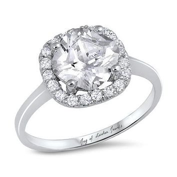 A Flawless 3.5CT Cushion Cut Halo Russian Lab Diamond Engagement Ring