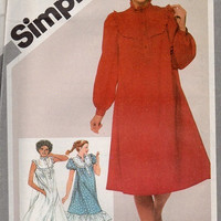 Simplicity 80s Sewing Pattern Pullover Tent Dress Loose Fit Ruffle Hem Frilly Neckline Boho Hippie Style