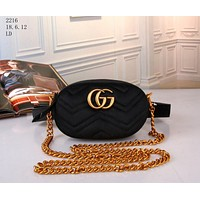 """Gucci"" Women Fashion Velvet Letter Logo Waist Bag Chest Bag Mini Small Round Bag Shoulder Messenger Bag"