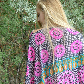 Pink and White Silk Kaftan Top