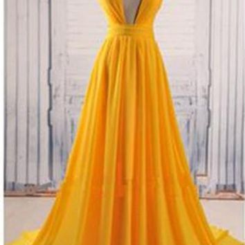 Yellow A Line V Neck Criss Cross Back Chiffon Long Prom Dress OKB58