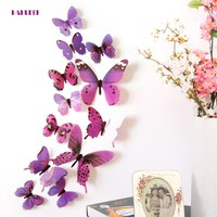 KAKUDER 12 pcs Butterfly 3D DIY Wall Stickers For Living Room, Bedroom, Kitchen, Toilet, Kids Room Decorations