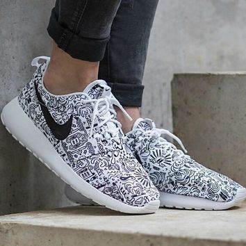 NIKE Women Men Running Sport Casual Shoes Sneakers Graffiti White print