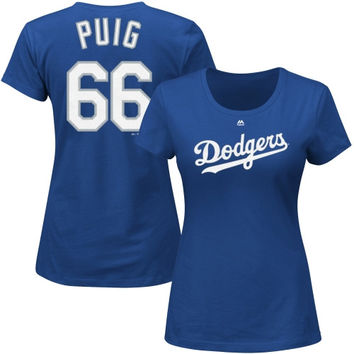 Yasiel Puig L.A. Dodgers Majestic Women's Name and Number T-Shirt - Royal Blue