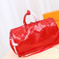 Kuyou Gb29816 Lv Louis Vuitton Monogram Travel Keepall Bandouliere 50 Red Soft Travel Bag 50x 29x 23cm