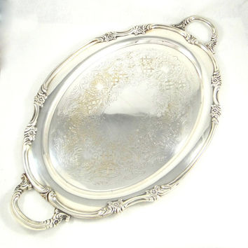 Vintage Georgian Rose Silver Plate Waiter's Tray by Reed and Barton