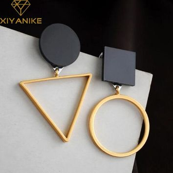 XIYANIKE  Brand Punk Fashion Triangle Round Geometric Asymmetric Black Earrings Women Party Jewelry pendientes brincos E130