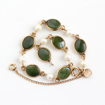 Vintage 12k Rosy Yellow Gold Filled & Cultured Pearl Jade Bracelet - Retro 1950s Green Oval Nephrite Jade Gem CC Curtis Creations Jewelry
