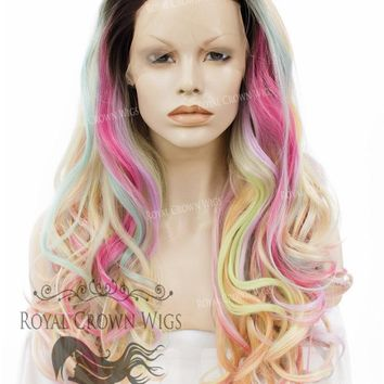 """26"""" Heat Safe Synthetic Lace Front """"Constance"""" with Curly Texture in Unicorn Fantasy"""