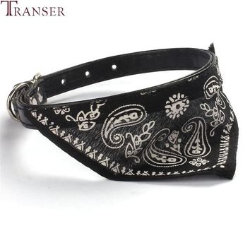 Transer Pet Dog Supplies Jacquard Print Puppy PU Leather Neckerchief Scarf Bandana Dog Collars For Small Dog 80124